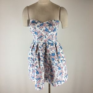 Sans Souci dress medium strapless pink blue floral